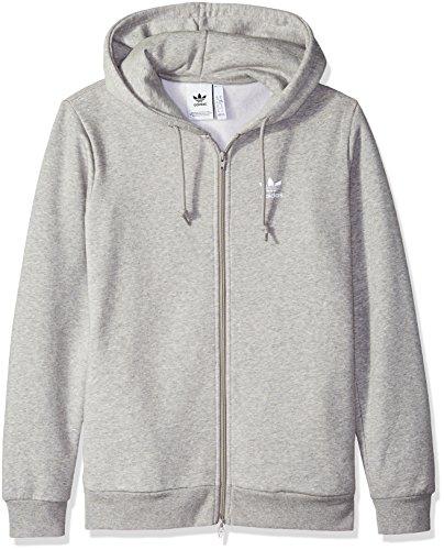 (adidas Originals Men's Trefoil Full-Zip Fleece Hoodie, Medium Grey Heather L)