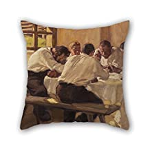 16 X 16 Inches / 40 By 40 Cm Oil Painting Albin Egger-Lienz - Lunch (The Soup, Version II) Pillow Shams Twice Sides Is Fit For Home Theater Kids Boys Gf Couch Bench Husband