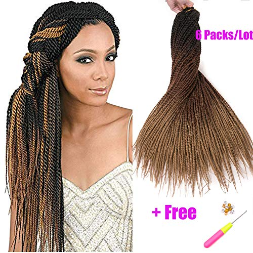Geyashi Hair 24 Inch 6 Packs/Lot 100G/Pack 1B/Dark Bown/Honey Blonde 30 Strands/Pack 2S Senegalese Twist Crochet Hair Braids Small Havana Mambo Twist Crochet Braiding Hair(1B/4/27) ()