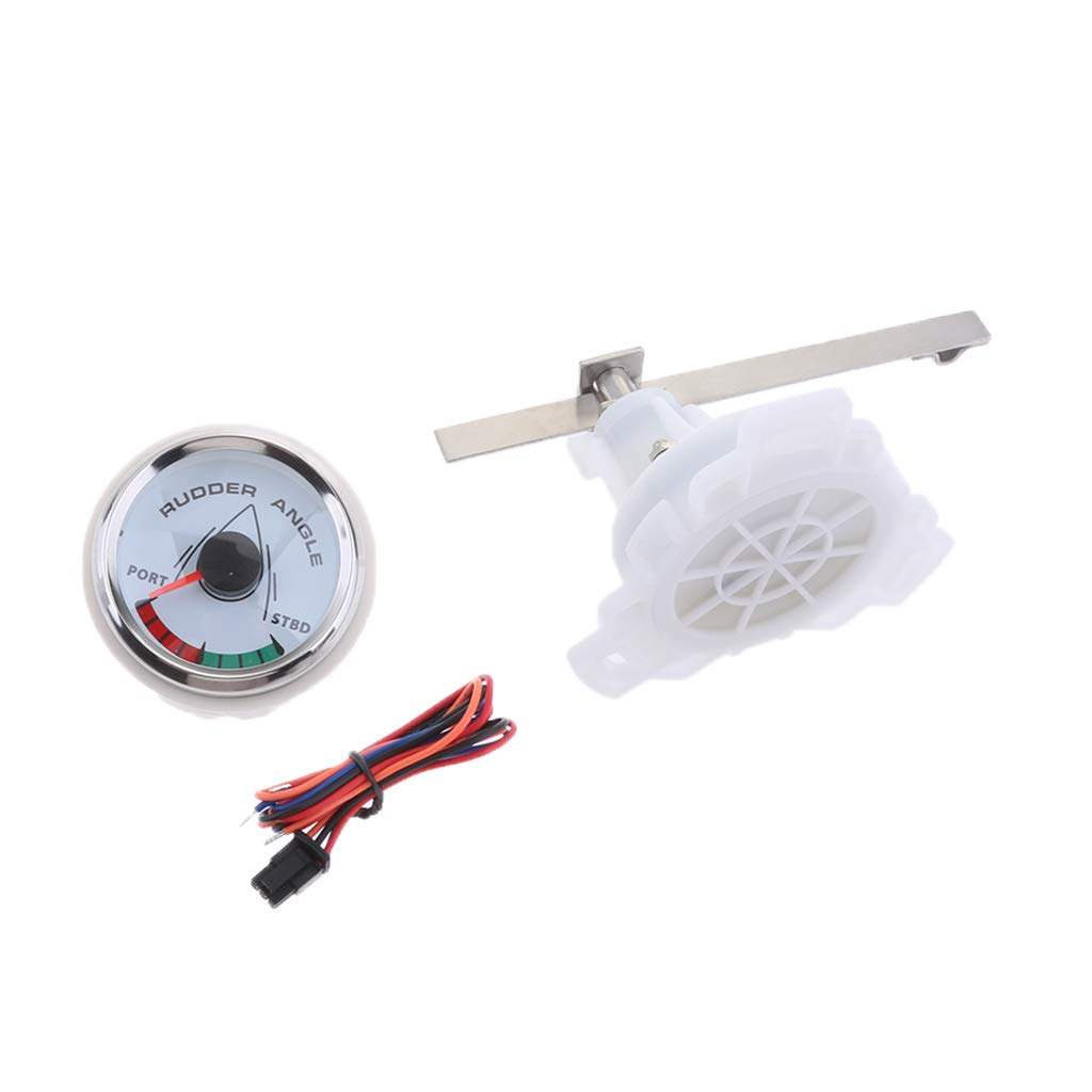 Flameer 9-32V 52mm 2 Inch Rudder Angle Gauge 0-190Ω White Dial for Marine Boat by Flameer