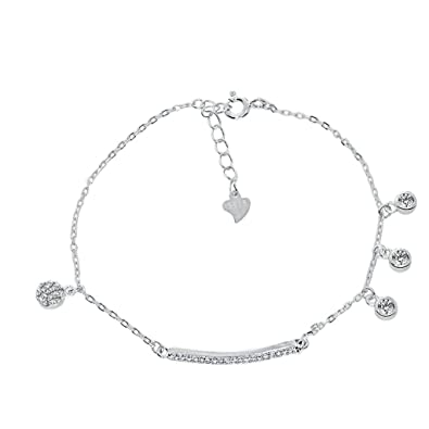 696562cd7c82 BeyDoDo Modeschmuck S925 Silber Armband für Damen Rund Rund Zirkonia ...