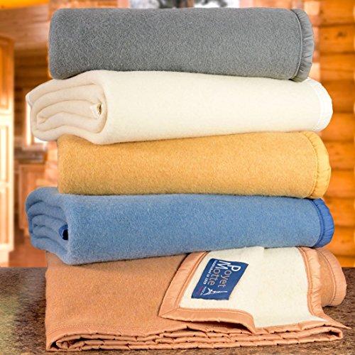 Poyet Motte Aubisque 500GSM Heavyweight 100-Percent Wool Blanket (Full/Queen, Natural)
