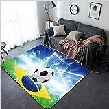Vanfan Design Home Decorative 163161935 Abstract sports background - soccer ball Brazil flag bright spotlight Modern Non-Slip Doormats Carpet for Living Dining Room Bedroom Hallway Office Easy Clean F