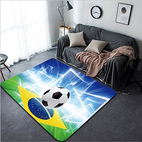 Vanfan Design Home Decorative 163161935 Abstract sports background - soccer ball Brazil flag bright spotlight Modern Non-Slip Doormats Carpet for Living Dining Room Bedroom Hallway Office Easy Clean F by vanfan