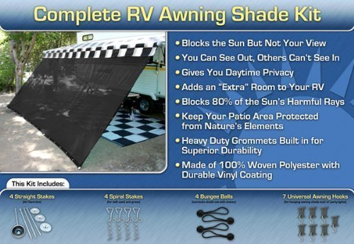 (EZ Travel Collection RV Awning Shade Kit Black Motorhome Awning Screen Trailer Kit 7x16)