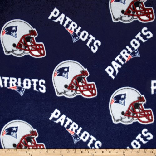NFL Fleece New England Patriots Tossed Helmets Fabric By The Yard