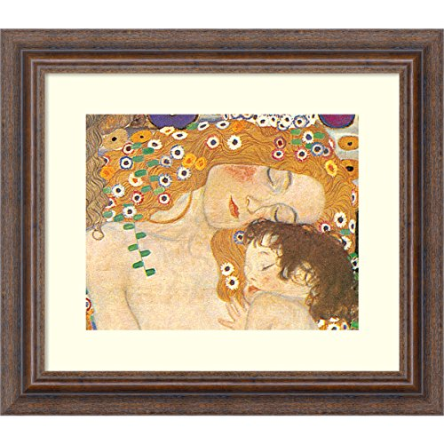 Framed Art Print 'Three Ages of Woman - Mother and Child (Detail IV), 1905' by Gustav Klimt: Outer Size 15 x - Naked Classic Women
