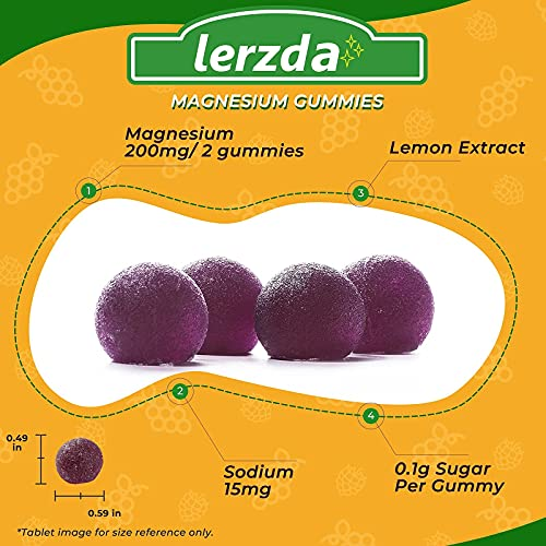 Lerzda Magnesium Gummies, 200 Mg Magnesium Supplement, Gluten-Free chewable Magnesium, Non-GMO, Natural Calming, Sleep Aid, Mood & Energy Booster, 60 Magnesium Gummies for Adults (Men & Women),Kids