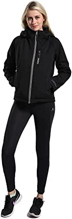 Mountain Leads Women's Slim Fit Jacket with Detachable Hood Waterproof Soft Shell Winter Coat