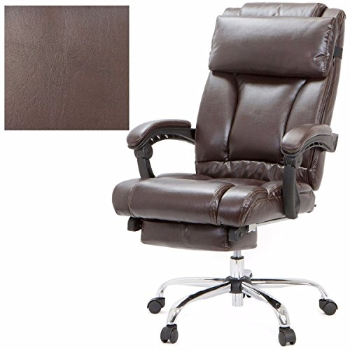 Executive Reclining Office Chair Ergonomic High Back Leather Footrest Armchair - Brown + FREE E-Book