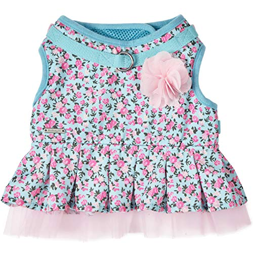 Picture of Blueberry Pet 5 Patterns Soft & Comfy Spring Made Well Cute Floral No Pull Mesh Dog Costume Harness Dress in Light Blue, Chest Girth 19