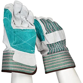 """West Chester 500DP Rubberized Safety Cuff Leather Glove, 10.5"""" Length, Large, Gray (Pack of 12 Pairs)"""