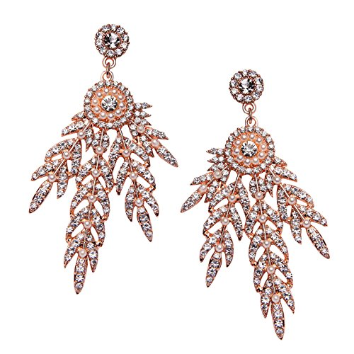 Art Deco Drop Earrings (BABEYOND Art Deco 1920's Flapper Great Gatsby Inspired Leaf Medallion Pearl Drop Dangle Earrings (Rose Gold))