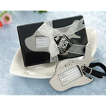 airplane luggage tag in gift box with suitcase tag baby shower gifts wedding favors