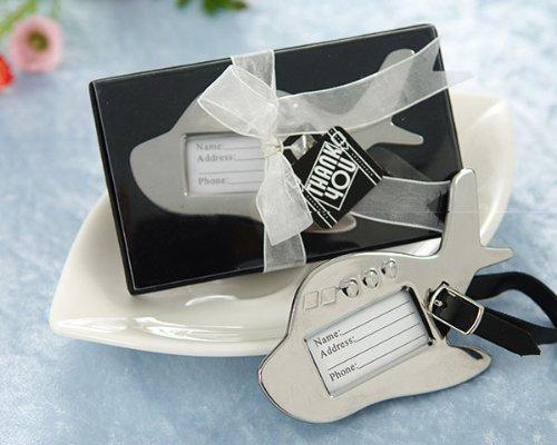 Airplane Luggage Tag in Gift Box with suitcase tag - Baby Shower Gifts & Wedding Favors (Set of 12)