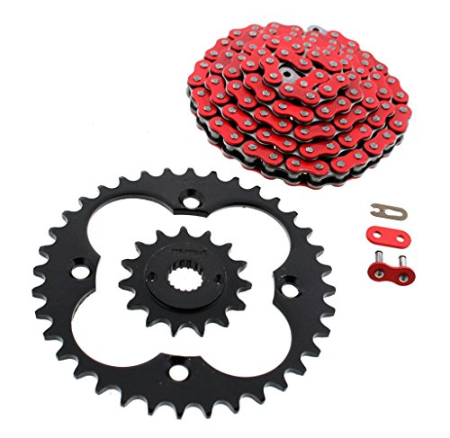 1999-2004 Fits Honda 400EX TRX400EX Red Non O-Ring Chain & Black Sprockets 15/36 94L ()