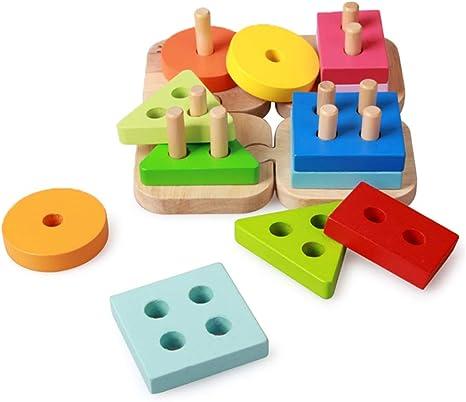 LXWM Conjunto de Pares de geometría de Madera Twisting Puzzle para niños Color Jenga Building Blocks Toys: Amazon.es: Deportes y aire libre