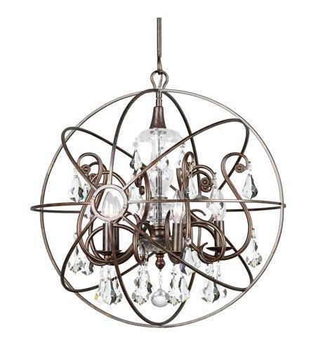 - Chandeliers 5 Light with English Bronze Clear Swarovski Strass Wrought Iron 22 inch 300 Watts - World of Lighting