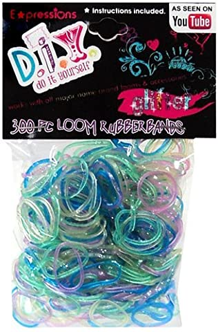 Expressions Girl / D.I.Y. 300-piece Glitter Latex-free Rubber Band Bracelet Loom Refill Pack - Glitter Stretch Bracelet