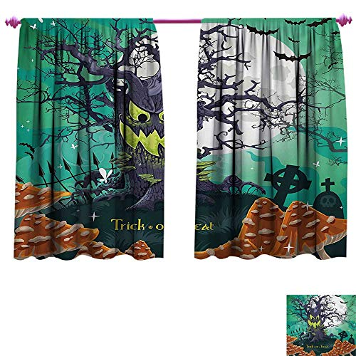 cobeDecor Halloween Blackout Draperies for Bedroom Trick or Treat Dead Forest with Spooky Tree Graves Big Kids Cartoon Art Print Window Curtain Fabric W72 x L63 Multicolor ()