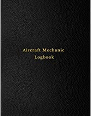 Aircraft Mechanic Logbook: AMT technician log book for airplane and helicopter repairs and Maintenance   Black leather print design