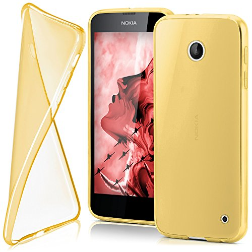MoEx Ultra-Clear Case [Transparent] to fit Nokia Lumia 630   Non-Slip and Thin, Gold (Nokia Lumia 630 Transparent Case)