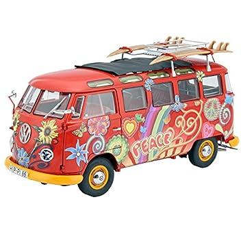Schuco 450028300 VW T1 Samba Hippie - Escala 1:18 para Furgoneta con Pistas de