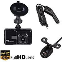 3 Dual Lens TFT HD 1080P Car DVR, 140 Degree Wide Angle Dashboard Camera Recorder Dual Lens for Vehicles Front & Rearview Mirror with G-Sensor GPS, Night Vision, Microphone,Loop Recording(Black)