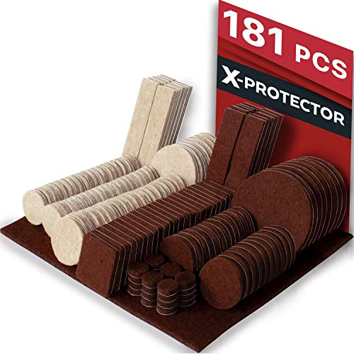 X-PROTECTOR Premium Ultra Large Pack Felt Furniture Pads 181 Piece! Felt Pads All Sizes Furniture Feet - Your Best Wood Floor Protectors. Protect Your Hardwood Flooring with 100% Satisfaction! (In Table 3 1 Dining)