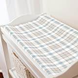 Carousel Designs French Gray and Lake Blue Plaid Changing Pad Cover - Organic 100% Cotton Change Pad Cover - Made in The USA