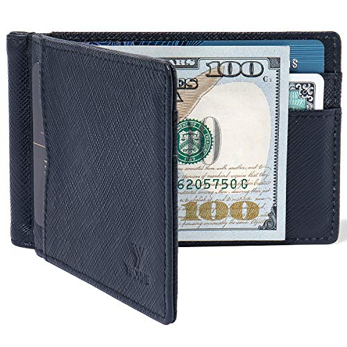 YBONNE RFID Blocking Minimalist Slim Bifold Men's Wallet with Money Clip, Premium Durable Thin Front Pocket Card Holder, Made of Top Quality Saffiano Genuine Leather ()