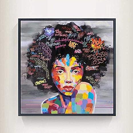 Color : 1-20cmx20cm Peinture sur toile int/érieure Pas De Cadre Graffiti Wall Street Art Abstrait Moderne Africaine Femmes Portrait Peinture Toile Imprime For Le Salon WWJYB0101
