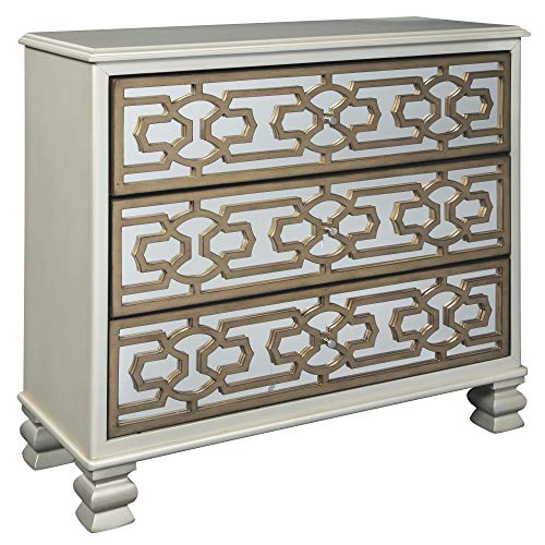 Ashley Furniture Signature Design - Senzernell 3-Drawer Accent Cabinet - Contemporary - Geometric Pattern on Mirror Panel Drawer Fronts - Silver/Gold Finish (Dovetail A-drawer Dvd)