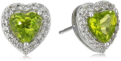 Sterling Silver Genuine Peridot and Created White Sapphire Halo Heart Stud Earrings