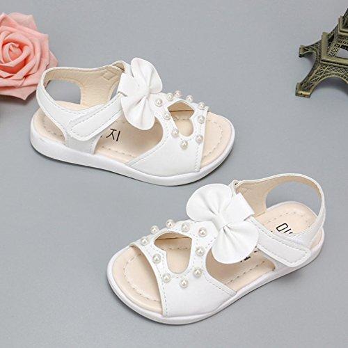 Bowknot Soiree Princesse Romaines Plage Bébé Perle Cristal Ceremonie Bout Reaso Fille Pour Sandales Chaussures Tong Blanc Ouvert De IwcqZFU1x
