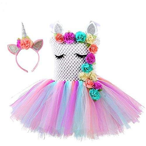 Girls Unicorn Tutu DressTulle Fluffy Unicorn Skirt for Kids Birthday Party or Everyday Unicorn Themed Dress Up Occassions Pink ()