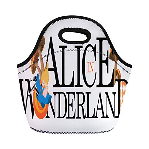 Semtomn Lunch Bags Ace Wonderland Alice Text 10 Hat Cartoon Chain Childhood Neoprene Lunch Bag Lunchbox Tote Bag Portable Picnic Bag Cooler Bag