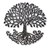 Tree of Life Metal Wall Sculpture with Curly Roots, Handmade in Haiti, Hang Indoor or Outdoor, Artistic Design 23″ Review