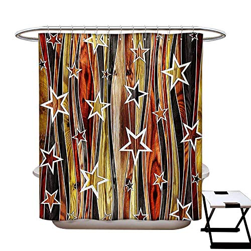 Rustic Shower Curtains 3D Digital Printing Vertical Wavy Stripes Oak Timber Wood Design with Various Star Figures Custom Made Shower Curtain W48 x L72 Black Pale Coffee Brown from BlountDecor