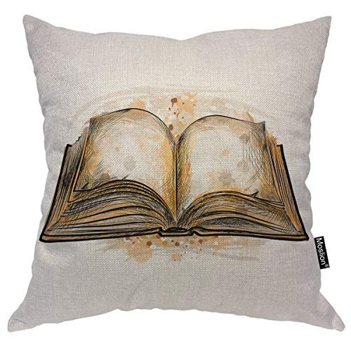 (Moslion Book Throw Pillow Case Magic Answer Book Bible Encyclopedia with Splash Doodle Pillow Cover Decorative Square Cushion Accent Cotton Linen 20x20 Inch for Sofa Chair Brown)