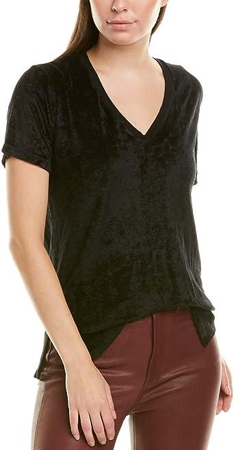 Michael Stars Womens Vali Velvet Short Sleeve V-Neck Slouchy Tee