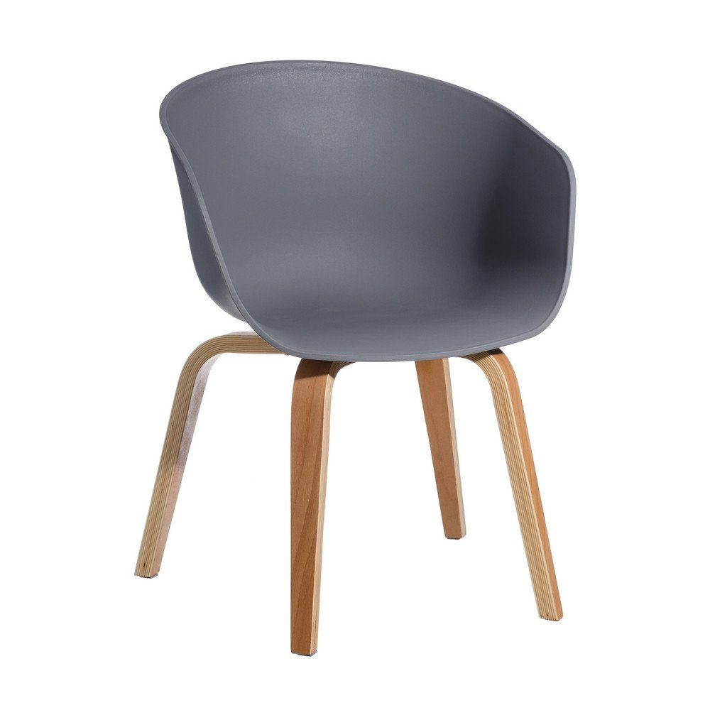 Chaise gris pp-madera moderne salon 58 x 51 x 76 cm