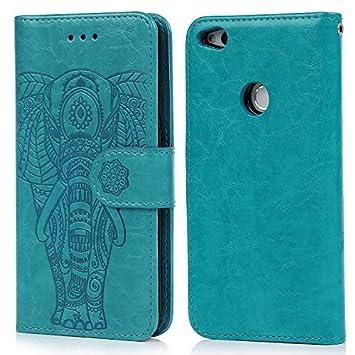 Funda Huawei P8 Lite 2017, Carcasa Libro de Cuero Impresión de Elefante PU Premium y TPU Funda Interna (2 en 1, Separable), Flip Wallet Case Cover ...