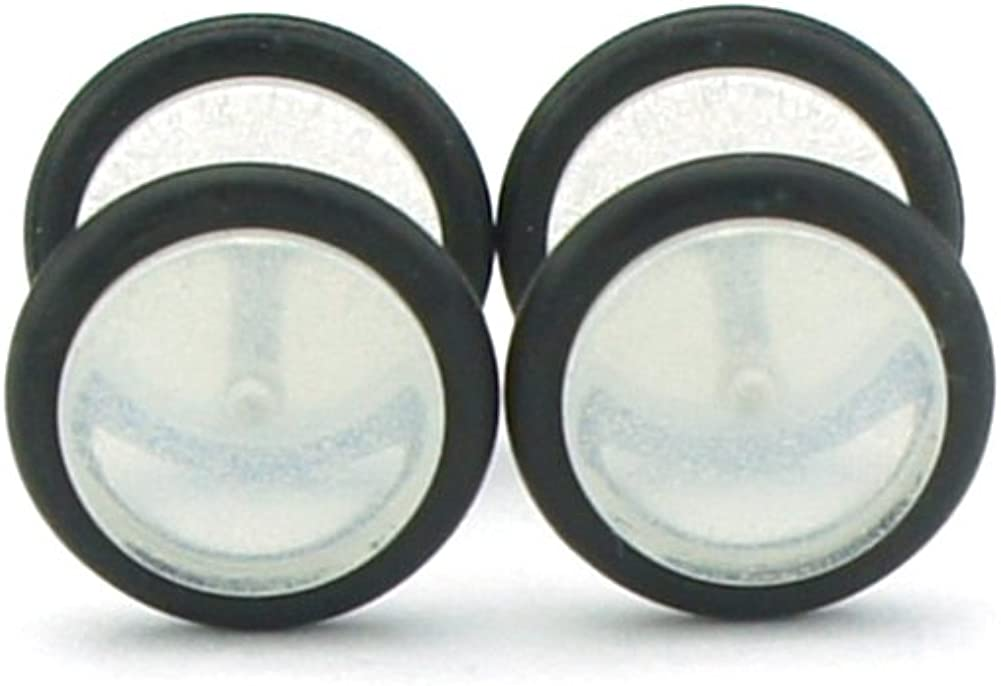 United Duo Glow in The Dark Clear Acrylic Fake Plugs 0G Cheaters 8mm