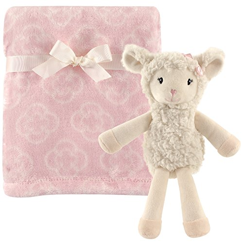 Little Lamb Blanket (Hudson Baby Plush Blanket with Plush Toy Set, Girl Lamb)