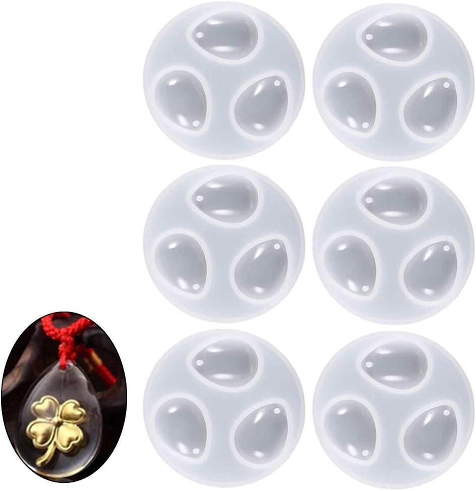 Hpamba Crystal Resin Mold Moulds Epoxy Molde Resina Molde Silicona Resina Pendant Pendiente Fabricación de Colgante Creativo Bricolaje Fabricación de Colgante Creativo Bricolaje (6 piezas, blanco)