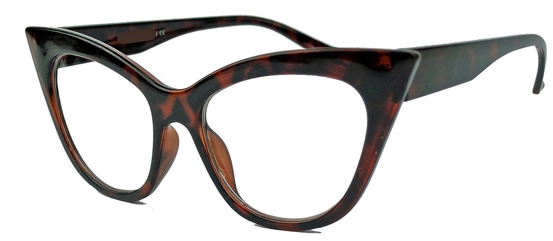 50er 60er Jahre Damen Retro Brillengestell Cat Eye Nerdbrille Klarglas CN61 (Braun) yWeoIFhEA