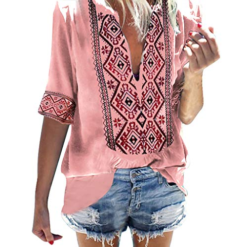 - Sunhusing Women's Deep V-Neck Bohemian Print Half Sleeve Tops Casual Beach Wind T-Shirt