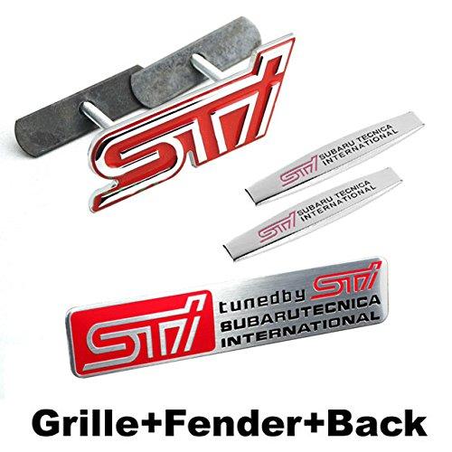 BENZEE 4pcs Sets AM66 STI Front Grill Red + Fender Side Sticker+ Back Sticker Car Emblem Badge For SUBARU LEGACY OUTBACK FORESTER Impreza WRX BRZ