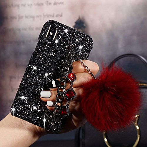 - iPhone X Case Furry, Umiko(TM) 3D Crystal Rhinestone Bling Diamonds Glitter Hard Case Cover with Bracelet Metal Chain Lovely Soft Rabbit Fur Plush Ball for iPhone X Girls Women, Red